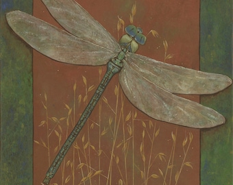 FREE SHIPPING // Dragonfly Fleeting Fancy of the Field by Carrie Martinez // Surrealism, Mysticism, Goddess, Tarot and Visionary Art