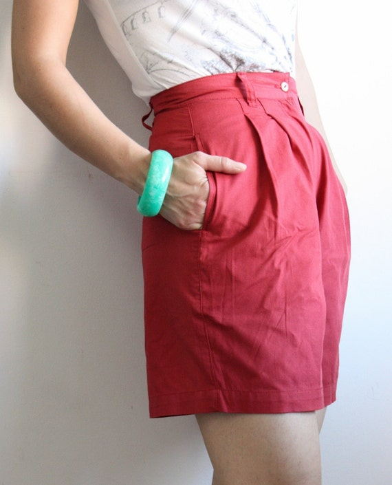vintage burnt red shorts / high waisted short pants, trousers / pure cotton 1980's shorts