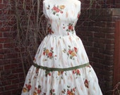 1950s Vintage Floral Rayon Dress Prom Day Party Dress UK 12 US 8-10