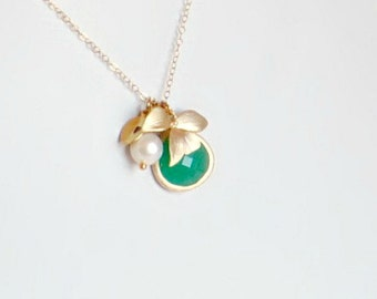 Emerald Necklace, Initial Necklace, Orchid Necklace, Personalized Necklace, Delicate Gold Necklace, Mothers Necklace, May birthstone, Gift
