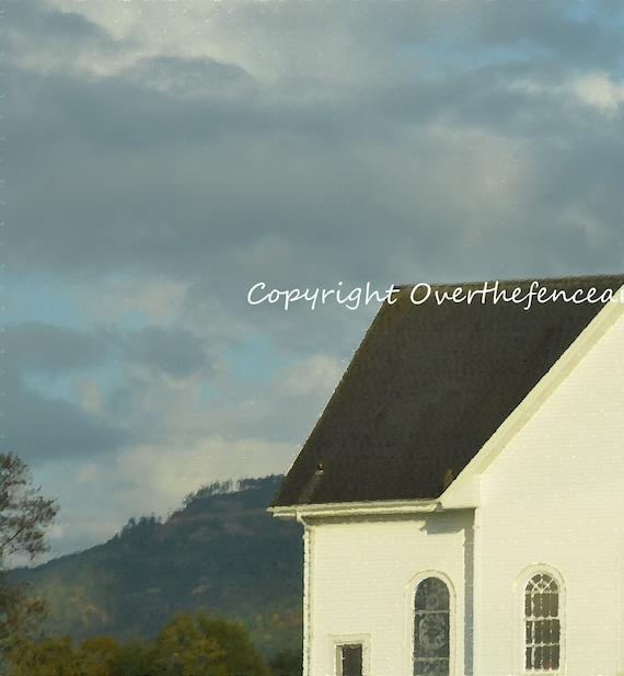 Church Card Fine Art Photography Blue Skies Over Skagit Valley Church La Conner Washington Print  Card
