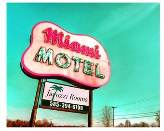 Retro Sign, Atomic, Mid Century Modern, Miami Motel,Teal,Pink,Magenta,Shabby Chic,Cottage Decor,Home Decor 8x10