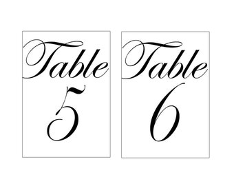 """4x6"""" Black and White Printable Table Numbers for Wedding or Event, 1 to 15, Elegant Script, Custom Table Numbers, Party Table Numbers"""