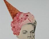 Paper Collage Print, Ice Cream Art, Food Art, Retro Art Print, Ice Cream Cone Hat, Weird Hat, Collage Art Print, Weird Art