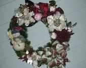 Snowman Wreath - Christmas Wreath - Door Decoration - Magnolia Christmas Wreath - 16 inch - Burgundy, Cream and Green Snowman Wreath