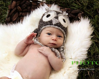 Gray Owl Hat for Baby in Natural Alpaca size Six to Twelve Months Ready to Ship