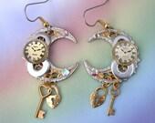 Watch Parts Gears Steampunk Earrings, celestial earrings, crescent moon earrings, upcycled steam punk earrings, Unique steampunk