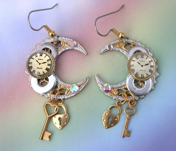 Watch Parts Gears Steampunk Earrings, celestial earrings, crescent moon earrings, upcycled steam punk earrings, Unique steampunk