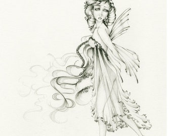 Fairy Drawing Illustration OOAK Original Pencil Drawing Illustration Sketch Black and White Fairy Fantasy Artwork by Joanna Haber