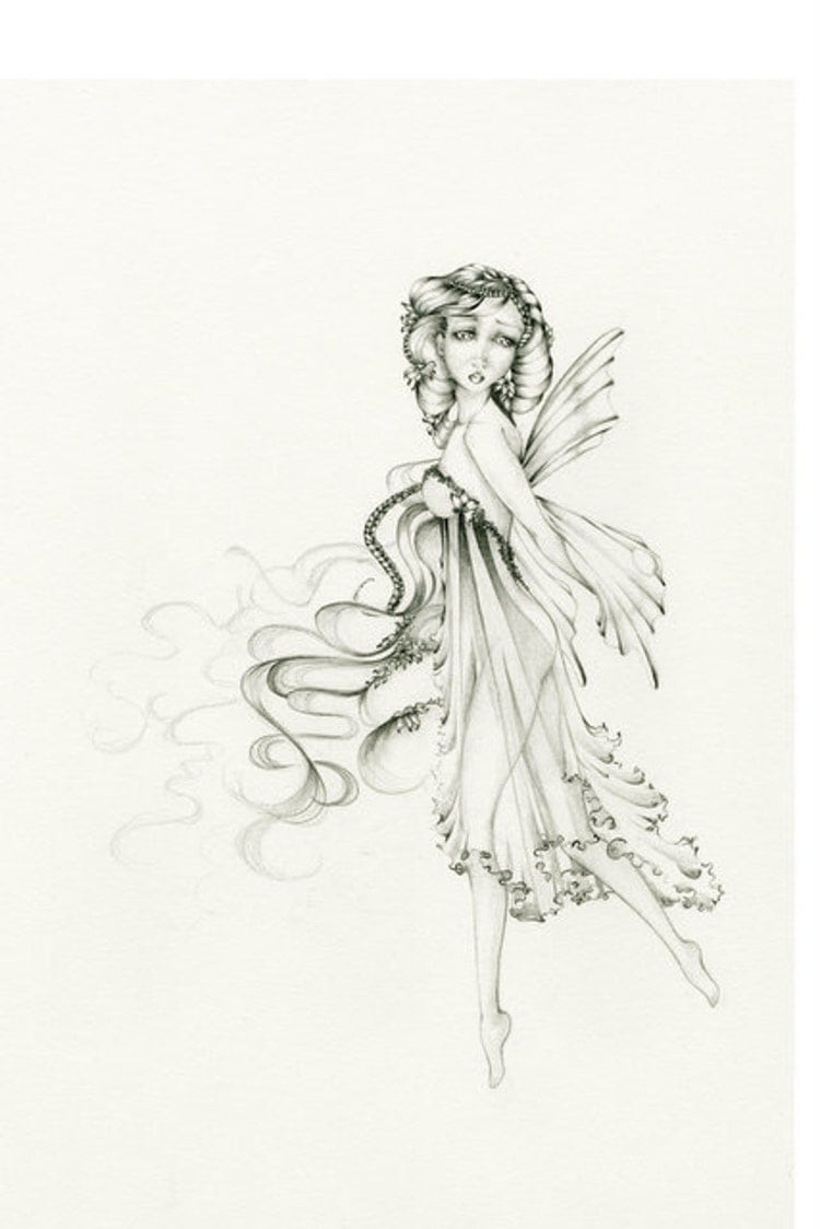 Fairy Drawing Illustration OOAK Original Pencil by ...