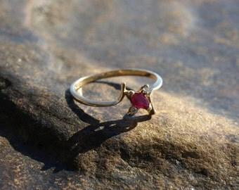 Vintage Petite Ruby Diamond Ring 10K Gold