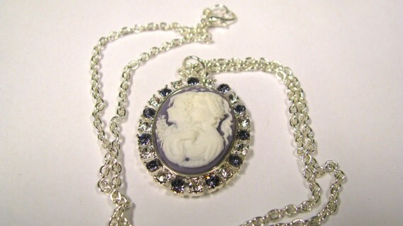 Lilac or Purple & white Sisters- Mother daughter Cameo Pendant With Crystal and tanzinite rhinestones NOS Cameo and Setting silver tone