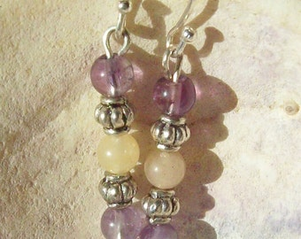 Earrings Amethyst, Adventurine and Silver Purple Gemstone Earrings ID 092