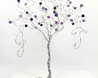 Wedding Cake Topper Tree Personalized Custom Wire Tree Sculpture with Your Initials in Any Colors