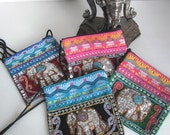 VINTAGE Laos/Thai Purse - Elephant Sequin and Bells Design Colorful Embroidered Bag with Strap - Small Size