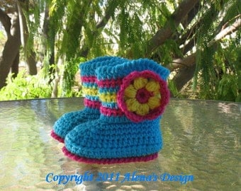 Crochet Pattern 030 - Booties Pattern - Crochet Baby Pattern - Slipper Pattern - Baby Girl - Winter Booties - Hat Mittens Crocheted Flower