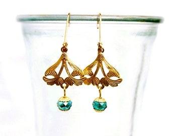 Art Nouveau Earrings with Aqua Beads & Filigree