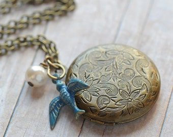Bridesmaid Gift Locket Rustic Wedding Jewelry Bridesmaid Jewelry Bridesmaid Necklace Gift Bridal Jewelry Rustic Wedding Blue Bird Locket