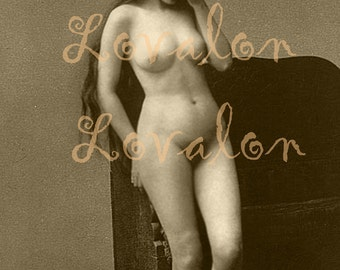 MATURE... Cryin'... Instant Digital Download... 1930's Vintage Erotic Nude Photo Image by Lovalon
