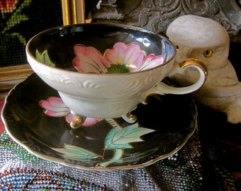 TEA CUP and SAUCER Vintage Set Pretty Asian Style Pink Poppies on Brilliant Black Lusterware China Gold Edges Tea Time Gift