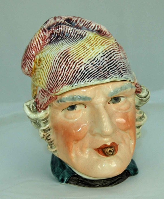 Reduced Price Rare Antique English TOBACCO MAJOLICA FIGURAL Small Jar Man W/ Cigar Colorful Textured Hat Blue Jacket Ca 1900 Exc Condition
