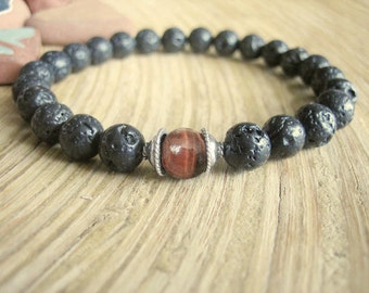 Mens Bracelet - Black Lava Stone Bracelet for Men with Red Tigers Eye and Silver, Dragons Eye