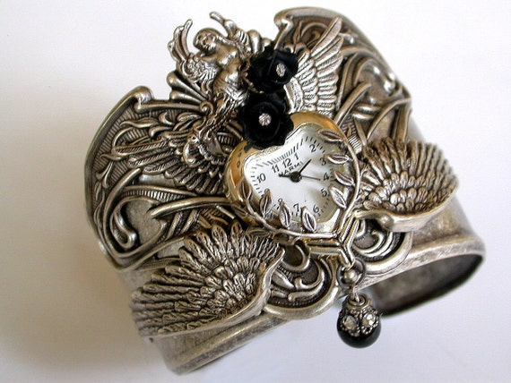 Steampunk Watch - Gothic Women's Cuff Watch - Gothic Jewelry