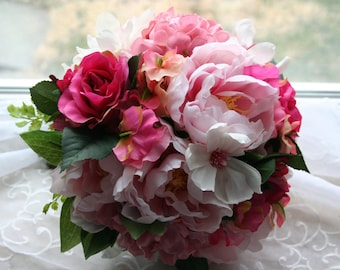 Pink Peony Bouquet & Boutonniere Bridal Set with Sweet Peas, Dogwood, Roses, Hydrangea, Spring Summer Winter Wedding, Island, Rustic, Garden