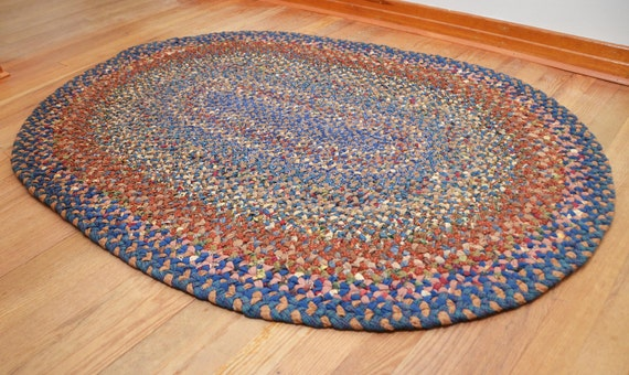 Braided Rug - Blue & Brown Cotton Oval