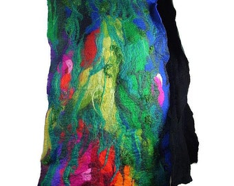 Felted Scarf Nunofelt Scarf MULTICOLOR SCARF Nuno felt scarf Felted Scarf fairy scarf wearable art Nunofelted Scarves Silk Rainbow scarf