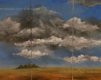 SALE --- Huge Landscape, Original Painting, Blue Sky, Storm Clouds, 3 Piece, Winjimir, Home Decor, Office Decor, 3 Vertical Canvas, Triptych