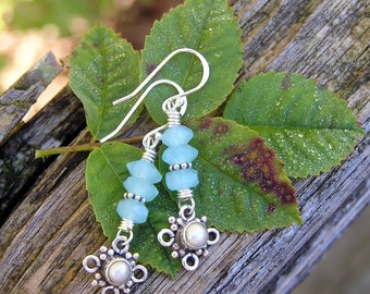 blue chalcedony, freshwater pearl, and sterling silver gemstone earrings. limited edition everyday earrings. dainty dangle earrings.