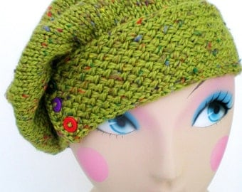 Women Knit Tweed Wool Hat / Beret / Beanie / Cap - Speckled Lime