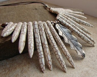 Howlite and Sterling Silver Statement Necklace Bib Necklace