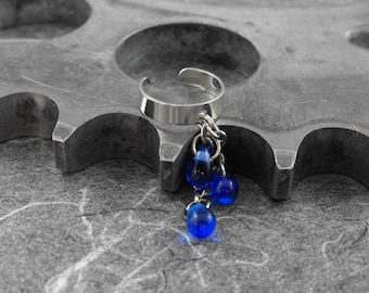 Sapphire Blue Silver Ear Cuff - Blue Tears of Joy by COGnitive Creations