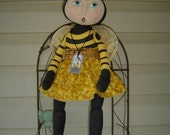 Primitive epattern Doll Pattern, Bumble Bee, yellow, bee, handmade, pdf