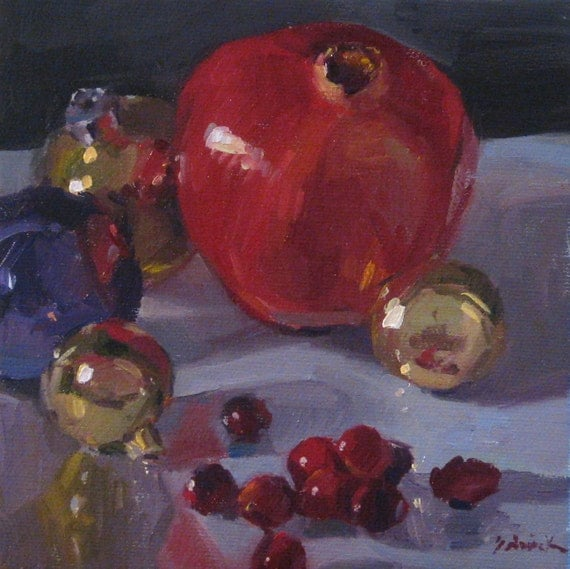 """Sale! Holiday Christmas art """"Pomegranate and Ornaments"""" Framed original oil painting by Sarah Sedwick 6x6in"""