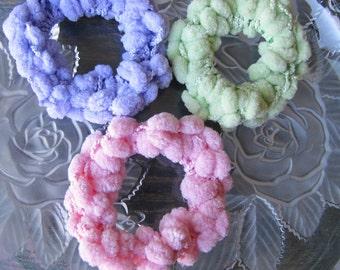 3 Hair Scrunchies, Crochet Hair Scrunchies, Set of 3 Ponytail Holders, Lavender, Pink, Green Hair Bands, Girls Hair Accessories