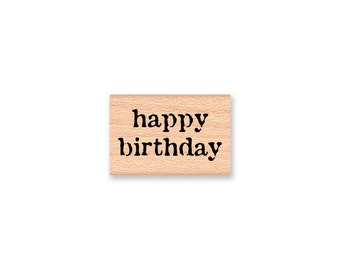 happy birthday -Vintage Font - medium size-(mcrs 14-32) Wood Mounted Rubber Stamp
