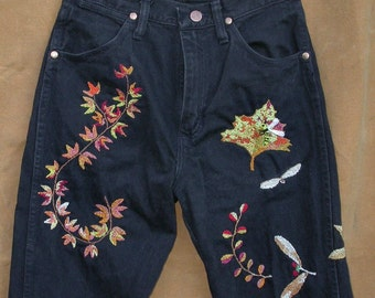 Leaf It Bee, hand embroidered jeans, upcycled Wranglers, boho, black denim, Resurrected Jeans, leaves, vines, bees, festival