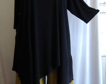Coco and Juan, Women Clothing, Missy Top, Plus Size Asymmetrical Tunic Top, Black, Traveler Knit,  Size XL (fits14/16)   Bust 46 inches