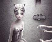 Human Horn Freak Show - signed 8x10 Fine Art Print - low brow big eye art - Pop Surrealism - by KarolinFelix - unframed, open edition
