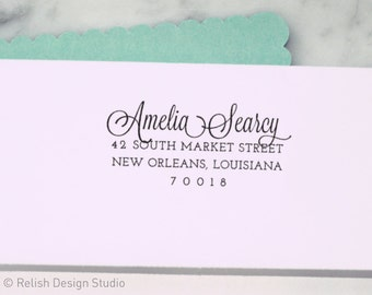 Custom Calligraphy Address Stamp 125, Wedding Address Stamp, Return Address Stamp, Wedding Gift, Personalized Stamp