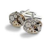 Steampunk Cufflinks Genuine Longines Watch Cuff Links, Wedding Anniversary Gift, Grooms Formal Wear, Vintage Silver Cufflinks Mens Jewelry
