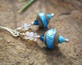 Couture Collection - Turquoise Dream Earrings - OOAK w Lampwork Glass Beads, Topaz, Opalite, Swarovski Crystal & Long Sterling Ear Wires