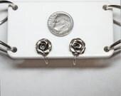 Vintage 40s 50s BEAU Sterling Silver Rose Screw Back Earrings