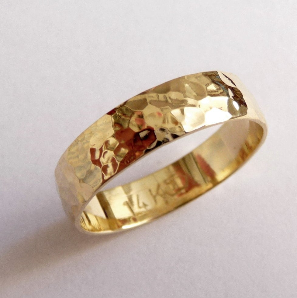 Men S Wedding Rings Diamontrigue Jewelry: Gold Mens Wedding Band Wedding Ring 5mm Wide Hammered By
