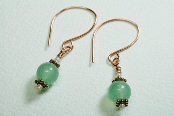 Green Aventurine Bohemian Handmade Copper Earrings - SRAJD