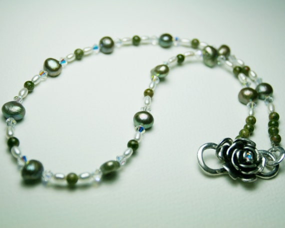 Sage Green and White Freshwater Pearl Necklace - Swarovski AB Crystals, Rose Clasp, Unakite - Lovely for Wedding, Bride - SRAJD
