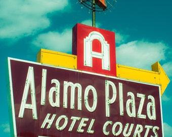 Fine Art Photography, Old Hotel Sign, Neon Lights, Retro, Home Decor, Print, Texas Wall Art, Architecture, Urban Decay, Mid Century Decor